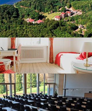 Her ses 2 billeder af Vejlefjord hotels faciliteter, samt et luftfoto af det hele