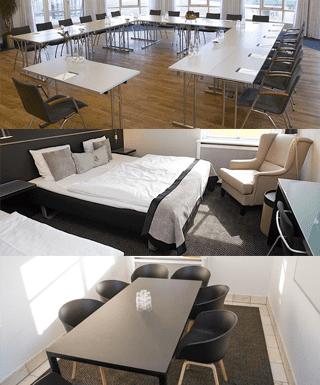 På billedet ses 3 forskellige billeder af faciliteter Comwell Sorø kan tilbyde