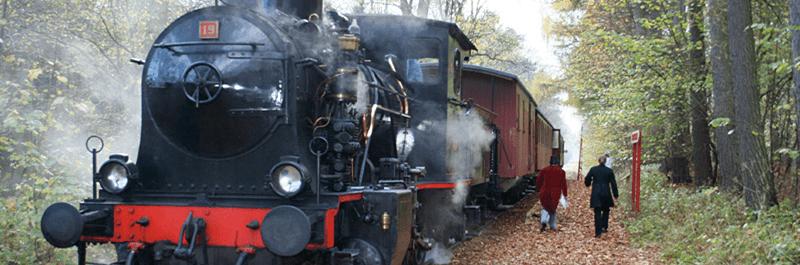 Her ses toget som kaldes Maribo Ekspressen