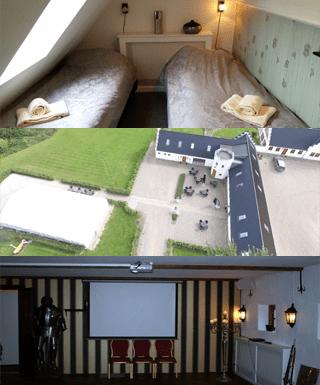 Her ses 3 billeder af nogle faciliteterne på gammelrøj herregård