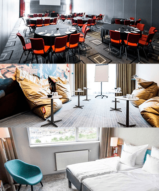 På dette billede ser man 3 små billeder af nogle af de faciliter & lokaler First hotel Copenhagen kan tilbyde