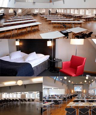 Her ses 4 små billeder af faciliteterne på Sørup herregård
