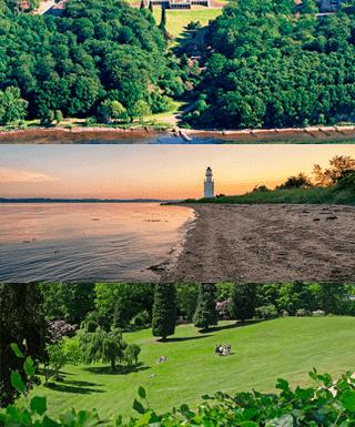 På billedet ses 3 billeder af naturen omkring hotel vejlefjord