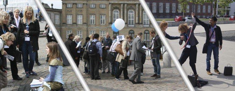 Et billede bestående af tre forskellige scenarier fra teambuilding i København