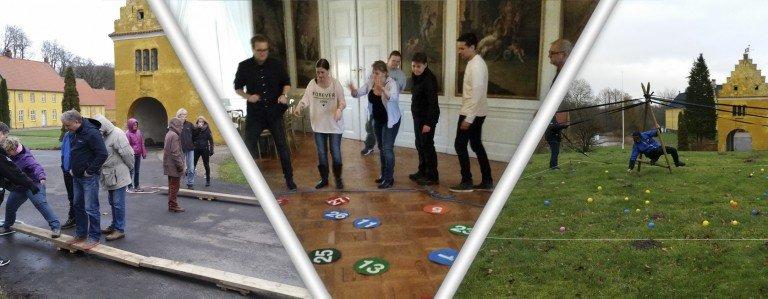 Her ses et billede med tre forskellige teambuilding øvelser både indendørs og udendørs på Fyn